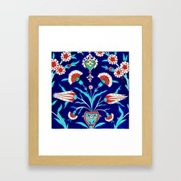 An Ottoman Iznik style floral design pottery polychrome, by Adam Asar, No 48L painting Framed Art Print