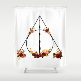 Deathly Hallows in Red and Gold Shower Curtain