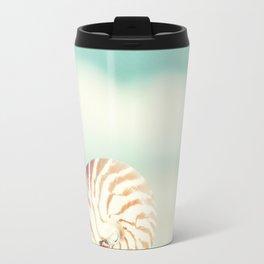 Seashell Beach Photography, Shell Coastal Ocean, Teal Turquoise Aqua Art, Nautilus Seaside Photo Travel Mug