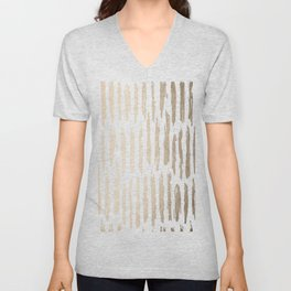 White Gold Sands Vertical Dash Unisex V-Neck
