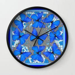 Decorative Blue Shades Butterfly Grey Pattern Art Wall Clock