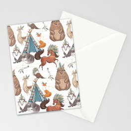 Watercolor Woodland Animal Patterns Stationery Cards