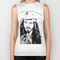 jack sparrow Biker Tanks featuring Captain Jack Sparrow by Evanne Deatherage