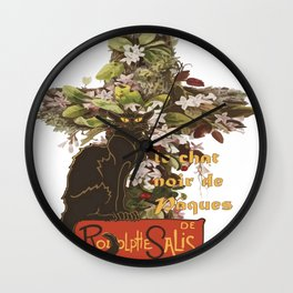 Easter Le Chat Noir de Paques With Floral Cross Wall Clock