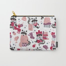 Hygge raccoon // white background Carry-All Pouch