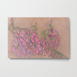 Foxgloves pastel sketch Metal Print