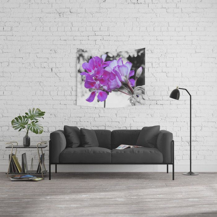 fuchsia flOWERS Pop of Color Wall Tapestry