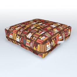 Book Case Pattern - Red and Gold Outdoor Floor Cushion