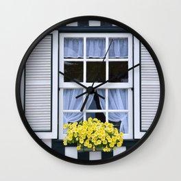 Beautiful yellow petunias Wall Clock