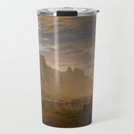 Looking Down Yosemite Valley California By Albert Bierstadt   Reproduction Painting Travel Mug