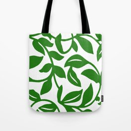 PALM LEAF VINE SWIRL IN GREEN AND WHITE Tote Bag