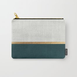 Deep Green, Gold and White Color Block Carry-All Pouch