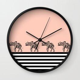 ELEPHANT & STRIPES CORAL Wall Clock