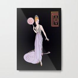 "Art Deco Illustration ""Fedora Fun"" by Erté Metal Print"