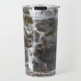 Brown Bear with Waterfall Background Travel Mug