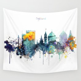 Oakland California Blue  skyline print Wall Tapestry