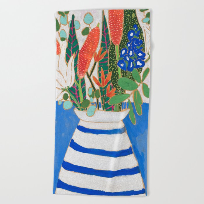 Nautical Striped Vase Of Flowers Beach Towel By Larameintjes Society6