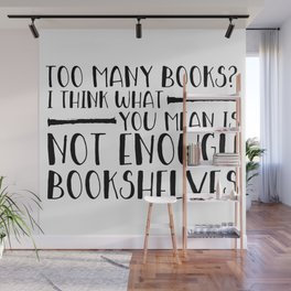 Too Many Books? (Lines) Wall Mural