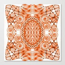 Orange Zentangle Tile Doodle Design Canvas Print