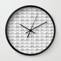 bicycles Wall Clocks featuring Bicycles by Zen and Chic