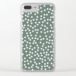 Dark Gray Green and White Polka Dot Pattern Clear iPhone Case