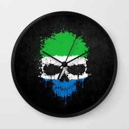 Flag of Sierra Leone on a Chaotic Splatter Skull Wall Clock