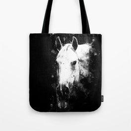 white horse face portrait watercolor splatters black white Tote Bag
