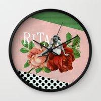 wasted rita Wall Clocks featuring rita by Rosa Picnic