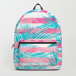 Modern pink turquoise tropical palm tree watercolor stripes pattern Backpack