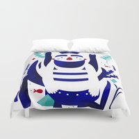 finding nemo Duvet Covers featuring Captain Nemo by Fabiola Correas