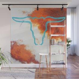 Turquoise Cow Skull on Sedona Earth Wall Mural