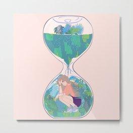 Hourglass Terrarium Metal Print