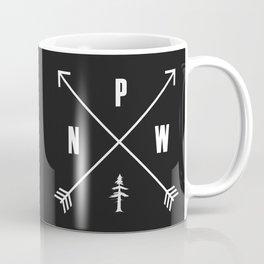 PNW Pacific Northwest Compass - White on Black Minimal Coffee Mug