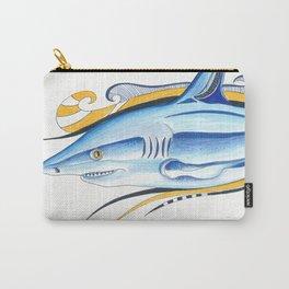 Funky Shark Orange Blue Ink Art Carry-All Pouch