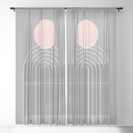 Mid Century Modern Geometric 76 in Ultimate Grey and Rose Gold (Sun and Rainbow abstraction) Sheer Curtain