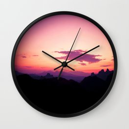 Fuchsia & Purple Sunset Mountains Wall Clock
