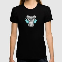 Snow Leopard Cub Fairy Wearing Glasses on Blue T-shirt