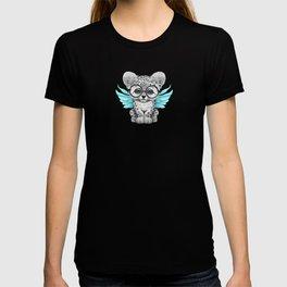 Snow Leopard Cub Fairy Wearing Glasses on Blue T-shirt