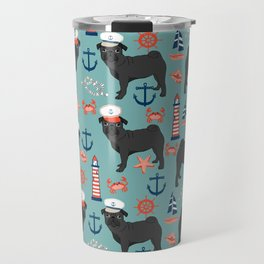Pug nautical sailing pattern dog breed pet portrait pet friendly dog art Travel Mug