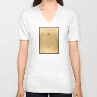 da vinci V-neck T-shirts featuring Leonardo da Vinci - Vitruvian Man by Elegant Chaos Gallery