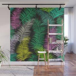 Palm Leaves Dark Wall Mural