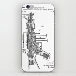 M16 Rifle Patent - Military Rifle Art - Black And White iPhone Skin