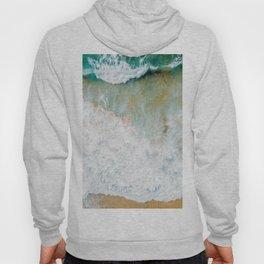 Ocean Waves Crushing On Beach, Drone Photography, Aerial Photo, Ocean Wall Art Print Decor Hoody