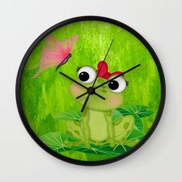 Cute Girl Frog  Wall Clock