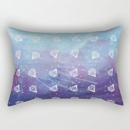 Simple Hand Drawn Diamond Pattern with Watercolor Background Rectangular Pillow