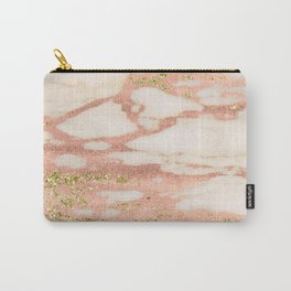 Marble - Rose Gold Shimmer Marble with Yellow Gold Glitter Carry-All Pouch