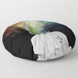 Albert Einstein With A Rainbow Galaxy Floor Pillow