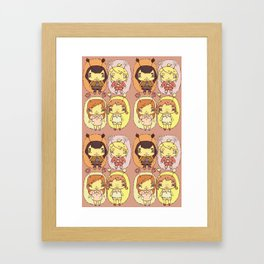 quirky seasons pattern Framed Art Print
