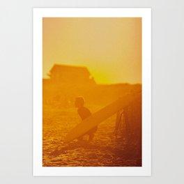 Ditch Plains Surfer - Montauk Art Print