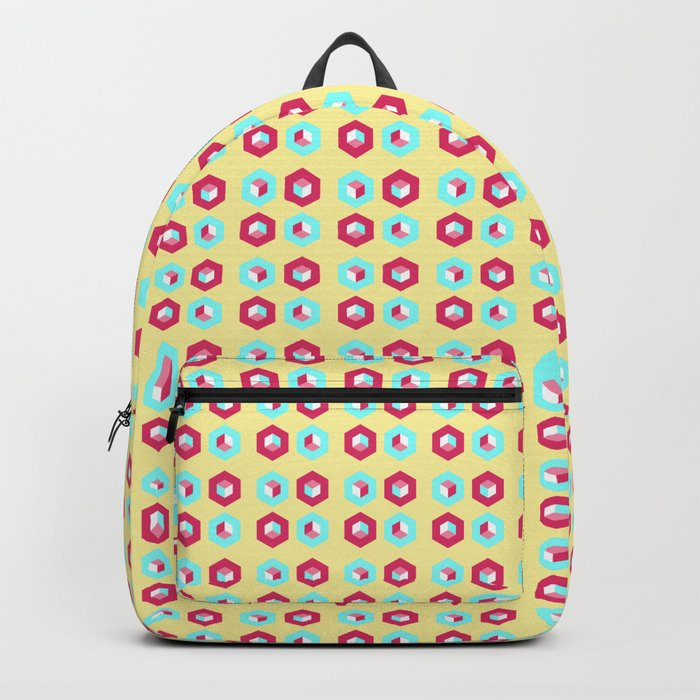 Pink and blue unidimensional cubes Backpack